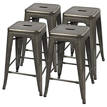 Furmax Metal stools High Backless Metal Indoor-Outdoor Counter Height Stackable bar Stools Gun Metal
