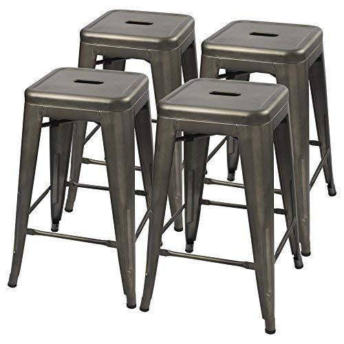 Furmax Metal stools High Backless Metal Indoor-Outdoor Counter Height Stackable bar Stools (Gun Metal) ()