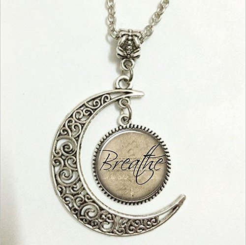 Inspirational Word Pendant,Breathe Necklace, Motivational Quote Moon Jewelry,moon Necklace Glass Art Picture ()