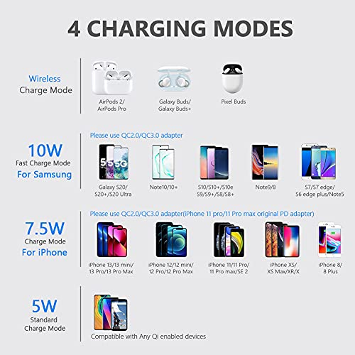 yootech Wireless Charger, Qi-Certified 10W Max Wireless Charging Pad with Quick Adapter, Compatible with iPhone 13/13 Pro/13 Mini/13 Pro Max/12/SE 2020/11,Samsung Galaxy S21/S20/Note 10,AirPods Pro