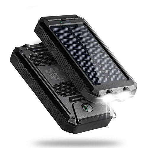 Titita Solar Charger, 10000mAh Solar Phone Charger, Waterproof/Shockproof/Dustproof Solar Power Bank Dual USB Battery Bank with 2 LED Light Carabiner for Emergency Travelling Camping, iPhone, Android
