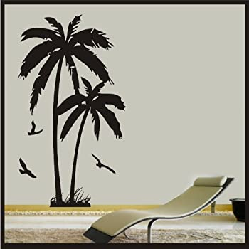 Palm Tree With Birds   Wall Art Vinyl Sticker Decal Wall Beach Hawaii Decor  Tropical Vinyl Decal