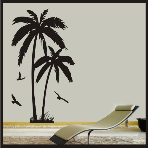 Palm Tree With Birds - Wall Art Vinyl Sticker Decal Wall bea