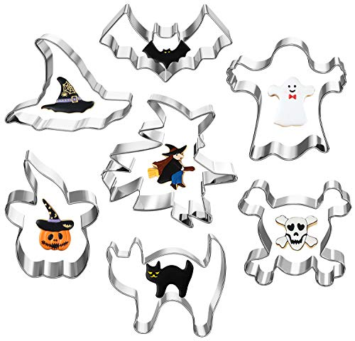 Halloween Cat Cookies (Halloween Cookie Cutters, Hibery 7-Piece Metal Cookie Cutter Set with Pumpkin, Bat, Ghost, Skull, Cat, Witch & Witch)