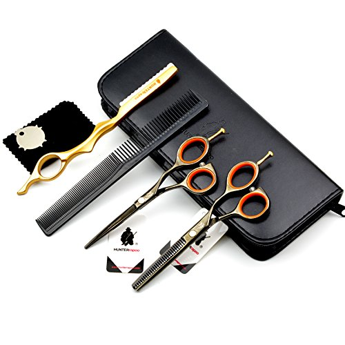 HUNTERrapoo (HT9114) 5.5 Black Color Baber Scissors Set For Hairdressing, Hair Cutting Scissor & Thinning Shear ltd