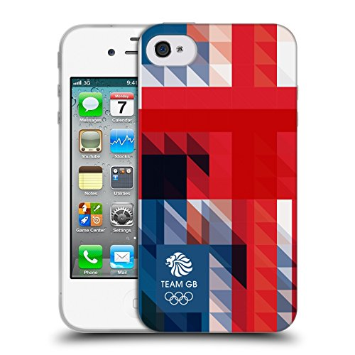 Official Team GB British Olympic Association Blue Square Geometric Union Jack Soft Gel Case for Apple iPhone 4 / 4S