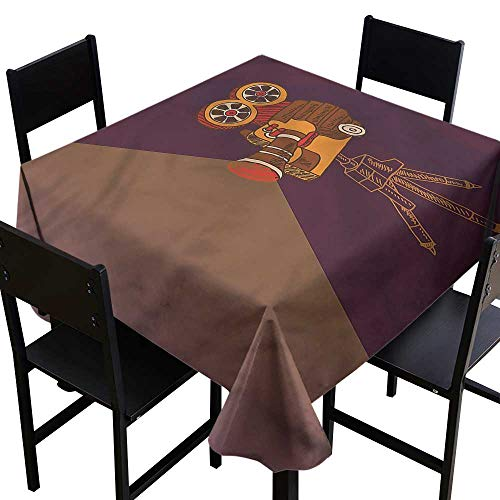 home1love Vintage Waterproof Table Cover Vintage Hollywood Theme for Events Party Restaurant Dining Table Cover 36 x 36 Inch