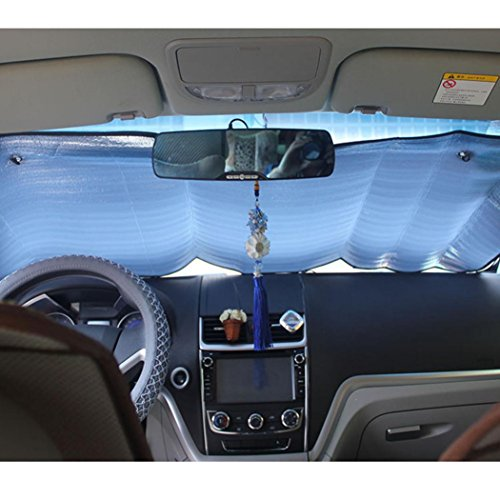 Transer Foldable Windshield Visor Sun Shade Sunshade Cover Car Front Window Snow and Ice Protector with Magnetic Suctions (silver) by Transer (Image #4)