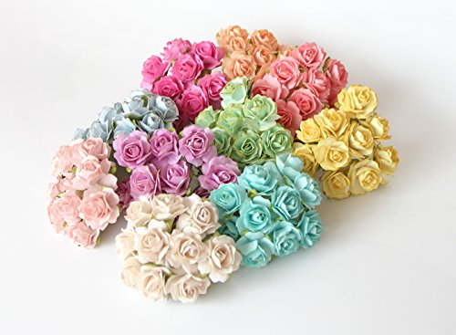 Mini Tea Rose (ScrapFlowers 100 Tea Paper Rose Flowers for Scrapbooking in Mixed colors, Wedding and Baby Shower Decorations, favours DIY (2 cm diameter))