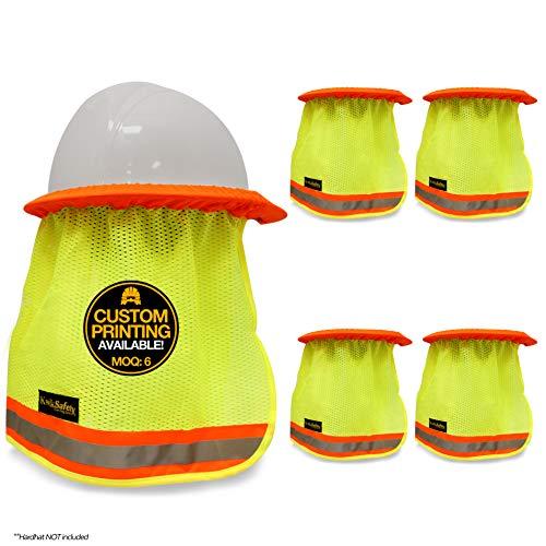 KwikSafety (Charlotte, NC) VADER (5 Pack) Hard Hat Sun Shade | High Visibility Mesh Contrasting Reflective Strip | Elastic Full Regular Brim Neck Protection | Construction Helmet Sun Shield Cooling ()