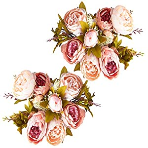 Foraineam Peonies Vintage Fake Flowers Wedding Centerpiece Home Decor Silk Artificial Flowers Peony Bouquets, Pack of 2 (Light Pink) 4