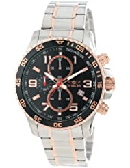 Invicta Mens 14877 Specialty Chronograph Black Textured Dial Two Tone Stainless Steel Watch