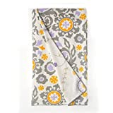 Sweet Potato Fiona Duvet Reversible Suzani/Floral Blankets, Purple/White/Grey/Yellow, Full/Queen