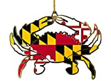 Maryland Flag Crab Ornament Enameled-(Brass)