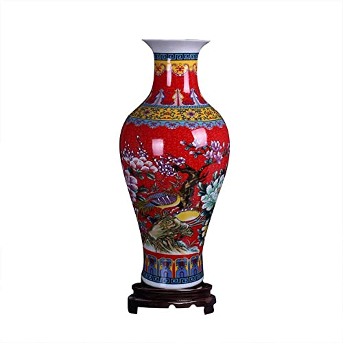 ufengke Jingdezhen Large Fishtail Ceramic Floor Vase,Flower Vase Handmade Home Decorative Vase,Height 18.11 46cm ,Red