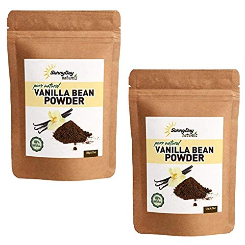 Vanilla Bean Powder, 4.23 Oz - Raw Ground Vanilla Bean - Unsweetened, Gluten-Free - EXTREMELY FRESH - Ground Moments Before Packaging! (2 Pack)