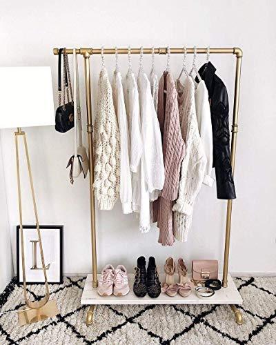 (Industrial Pipe Clothing Rack Wood Garment Rack Pipeline Vintage Clothes Hanger Display)