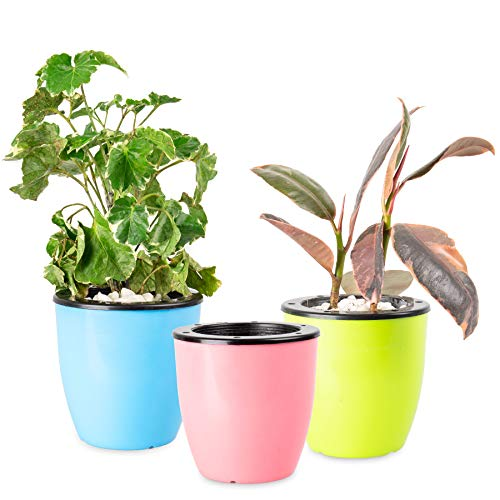 (3 Sets) Self Watering Planters - Suitable for All Plants, African Violets, Herb Pot for Plants. African Violet Pots Self Watering Pots for Indoor Plants/Outdoor Flowers Pots Indoor Pink,Blue&Green