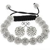 Gem Stone King Fully Iced Out Hip Hop White Disco Pave Ball Adjustable Bracelet & Earrings Set