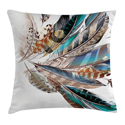 Ambesonne Feather House Decor Throw Pillow Cushion Cover, Vaned Types and Natal Contour Flight Feathers Animal Skin Element Print, Decorative Square Accent Pillow Case, 20 X 20 Inches, Teal Brown - House Throw