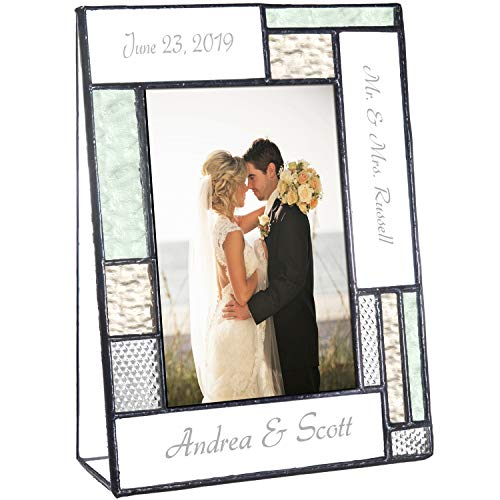 (Wedding Picture Frame Personalized Gift for Couple Engraved Green Yellow Glass Table Top 4x6 Vertical Photo Engagement Keepsake J Devlin Pic 430-46V EP619)
