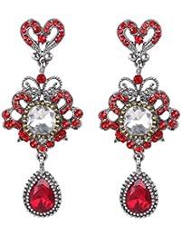 Women's Vintaged Inspired Love Heart Shape Crystal Flower Drop Chandelier Pierced Dangle Earrings