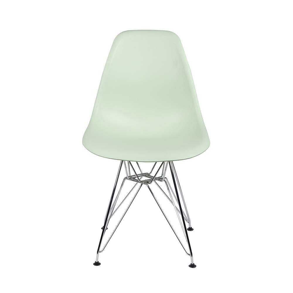 GIA Eames Plastic Armless Chair with Metal Legs, Green/Chrome, 1-Pack