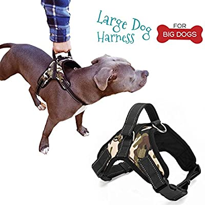 Large Dog Harness and FREE Leash - Best Dog Harness with Handle - Service Dog Harness for Large Breeds with Reflective trims, Adjustable Straps, Soft Padded, No Pull and Choke Free Harness