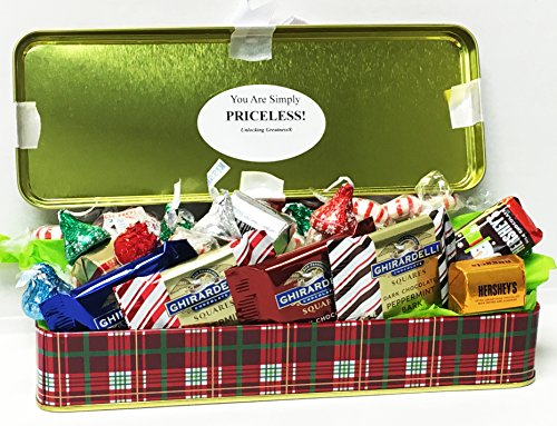Unlocking Greatness You Are Simply PRICELESS Christmas Holiday Tin Gift Basket (Design 2)