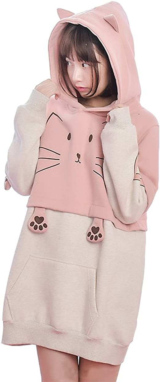 D Sun Girl's Cute Cat Hoodie with Cat Ears Hooded Sweatshirts Pullover