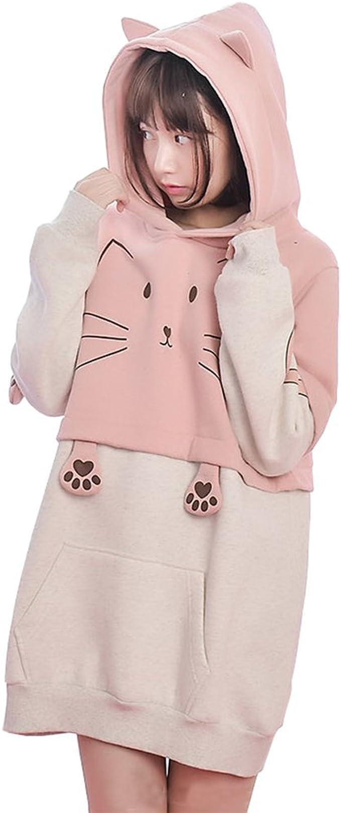 Foreigner Famale Cat Ear Hoodie Sweater Long Sleeve Cute Hoodie Sweatshirt Black