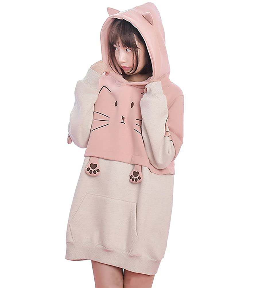 Cystyle Girl's Cute Cat Hoodie with Cat Ears Hooded Sweatshirts Pullover