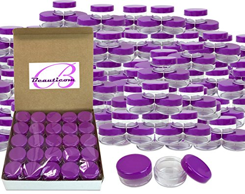 (Quantity: 1000 Pieces) Beauticom 10G/10ML Round Clear Jar with Purple Lids for Pills, Medication, Ointments and Other Beauty and Health Aids - BPA Free by Beauticom