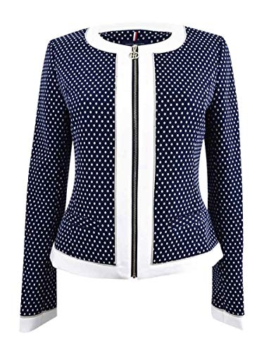 (Tommy Hilfiger Dot-Print Colorblocked Zip Front Jacket (MidnightIvory,)