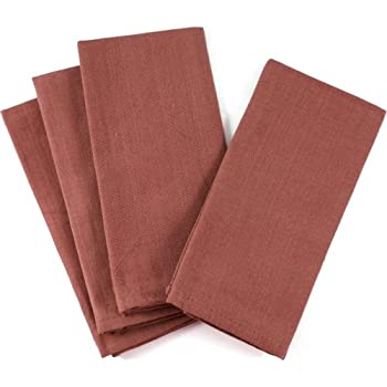 Rust Colored Oversized Square Cotton Canvas Napkin, Set of 12