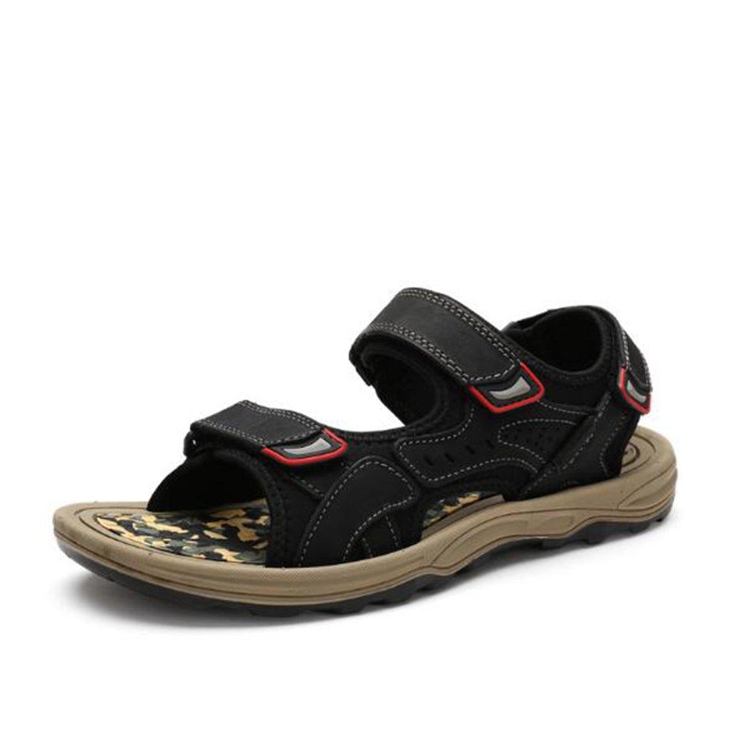 Sandalias - Sandalias de Punta Abierta de Cuero de Verano para Hombres/Zapatos de Playa/Camo US9.5/EU42/UK8.5/CN43|Black