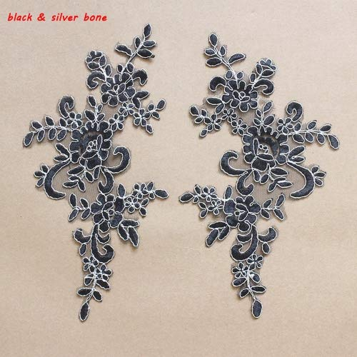 2 Pcs Black with Sliver Bone Flower Lace Patches for, used for sale  Delivered anywhere in Canada