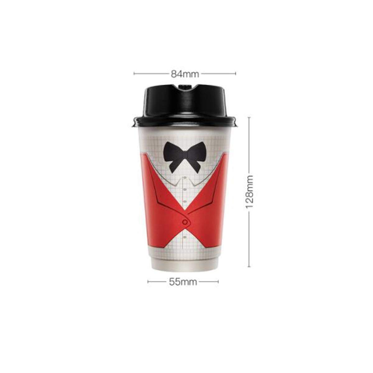 TONGBOSHI Disposable Paper Cup, Gentleman Cup, Ladies Cup, Coffee Bean Cup, Double Thick Insulation, Anti-scalding, With Lid, Couple Milk Tea Personality Cup, High Face Value 382ml, Gentleman Cup + Cu