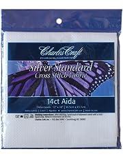 DMC CR340-6750 Silver Label Aida, 12 by 18-Inch, White, 14-Count
