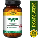 Country Life - Vitamin B-12 with Folic Acid, 500 mcg - 100 Sublingual Lozenges