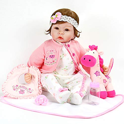 (Aori Realistic Baby Doll Lifelike Weighted Baby Reborn Girl Doll 22 Inch with Pink Horse and Accessories)