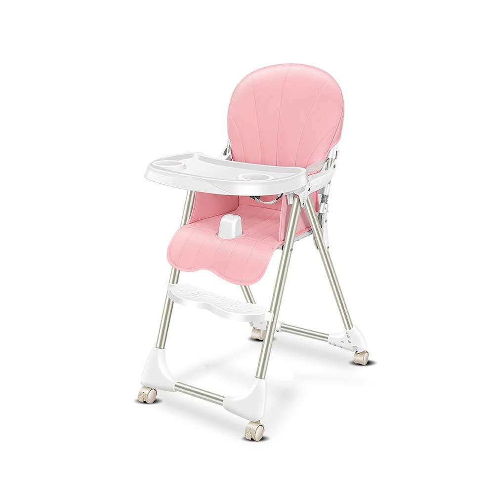 DUWX - Foldable赤ん坊の高い椅子、取り外し可能な夕食の版および車輪が付いている調節可能な子供の供給高い椅子 ベビーハイチェア   B07V39ZMVT