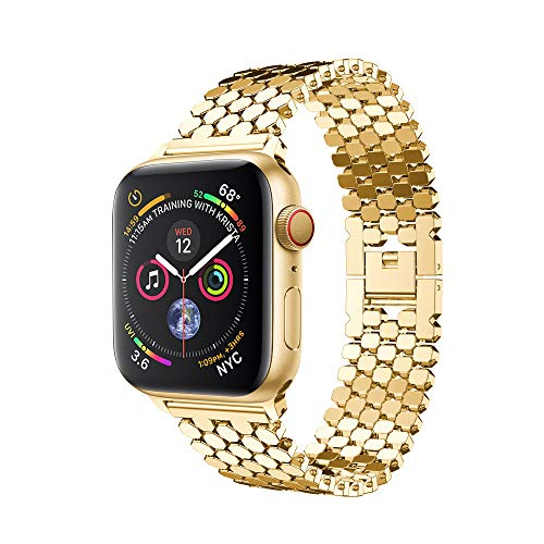 for Apple Watch 4 Stainless Steel Bracelet Loop Strap,Outsta Watchbands Replacement Strap Accessory Smart Watch Band 40mm 44mm (Gold, 44mm)