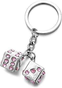 Mode Las Vegas Schlüsselring Zwei Rosa Strass Würfel Schlüsselanhänger Für Frauen Tasche Auto Charme Silber Schlüsselanhänger Schlüssel Anhänger Geschenke Spielzeug