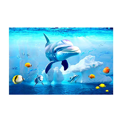 WHITEMOOM Dolphin Fish Tank Background Aquarium Sticker Wallpaper Decoration 24 x 16 inch