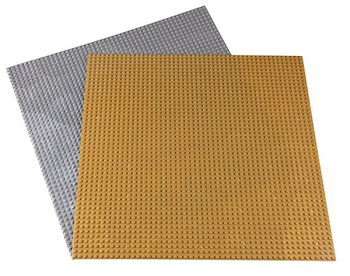 Strictly Briks Classic Baseplates for Building Bricks 100% Compatible with Major Brands | Building Bases for Tables, Mats and More! | 2 Base Plates in Gold & Silver 15.75