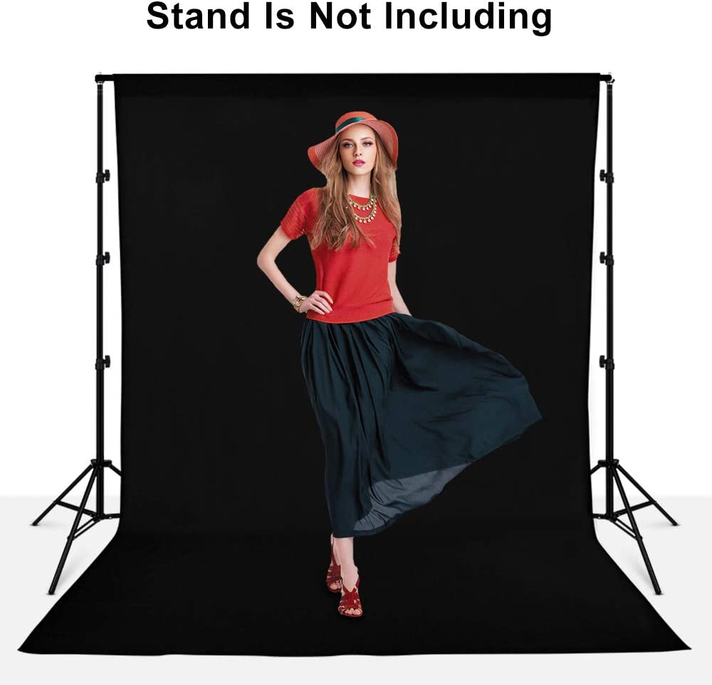 5x7ft 100/% Pure Muslin Chromakey Black Screen Photographic Studio Photo Backgrounds with 2 x Backdrop Clips and 2 x Clamps for Youtube Video Photography Photography Backdrop Background