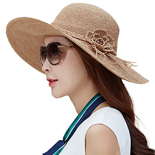 [Siggi Womens Floppy Summer Sun Beach Straw Hats SPF Foldable Wide Brim Sunhat 56-59cm Beige] (Straw Safari Hat)