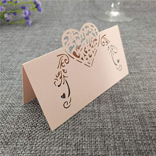 - YURASIKU 50pcs Laser Cut Sweet Love Heart Place Card Wine Wedding Decoration Holder Party Table Paper Name Cards Food Labels