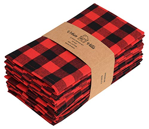 Urban Villa Dinner Napkins, Everyday Use, Premium Quality,100% Cotton, Set of 12, Size 20X20 Inch, Red/Black Oversized Cloth Napkins with Mitered Corners, Ultra Soft, Durable Hotel Quality (Christmas Linens Table Decor)